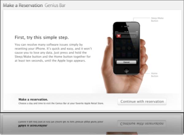 Apple рекомендует выполнить полный сброс или перезагрузку перед назначением на прием в Genius Bar