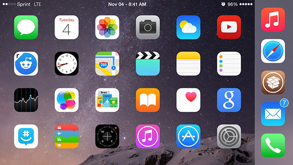 Как добавить пятый значок в док-станцию iPhone в iOS 8 и iPhone 6 / iPhone 6 Plus с помощью настройки betterFiveIconDock