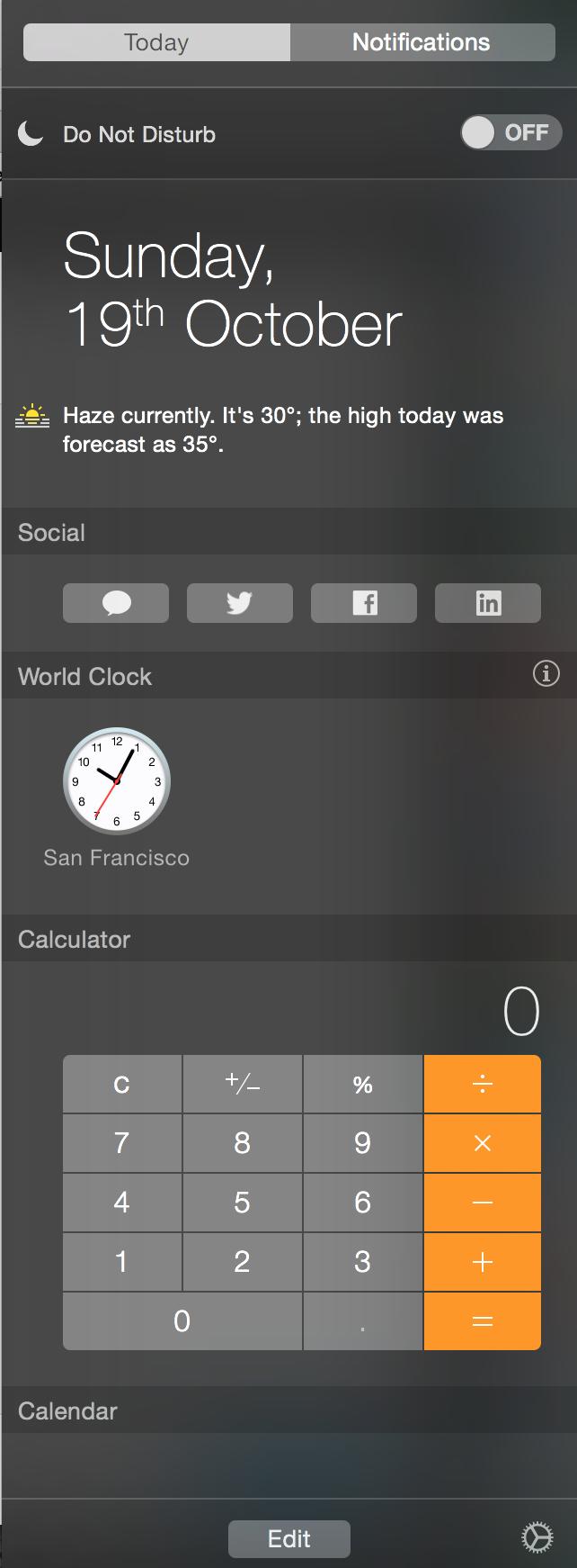 Добавление и использование виджетов Сегодня в Центре уведомлений OS X Yosemite