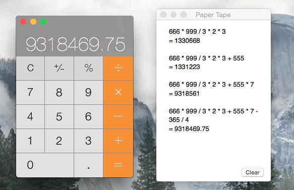 Как включить бумажную ленту в приложении калькулятора на Mac
