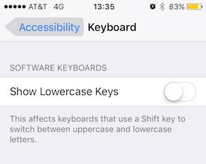 Как отключить строчные клавиши в iOS 9