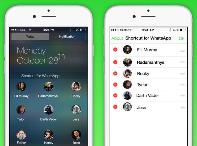 Как добавить ярлыки быстрого доступа для WhatsApp в Центр уведомлений с помощью этого виджета